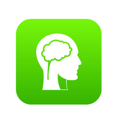 head with brain icon digital green vector image