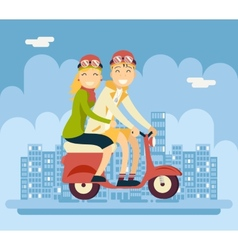 Hipster Male Female Couple Characters Riding vector image