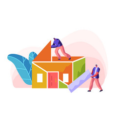 human builder construction color home vector image
