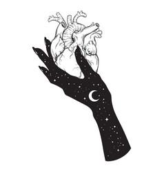 Human heart in hand universe black work vector