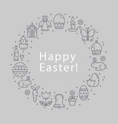 icons easter round frame vector image