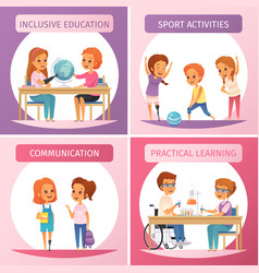 inclusion inclusive education icon set vector image