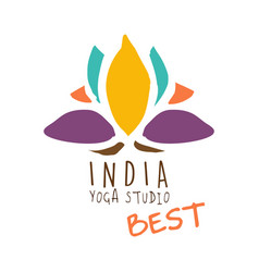 India yoga studio best logo colorful hand drawn vector