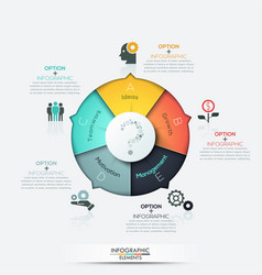 Infographics - pie chart with 5 options vector