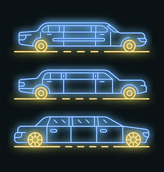Limousine icons set neon vector