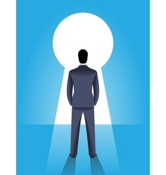 Looking through the keyhole business concept vector