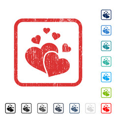 Lovely hearts icon rubber watermark vector