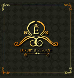 luxury and elegant monogram swirl floral template vector image