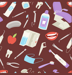 medical dental tools seamless pattern tooth apple vector image