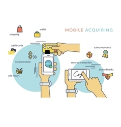 Mobile acquiring with signature via smartphone vector image vector image