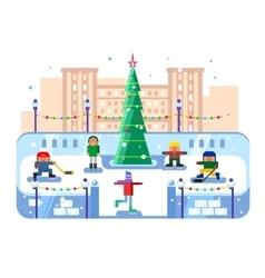 Municipal skating rink christmas tree vector