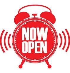 Now open red alarm clock vector image