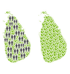 People and flora sri lanka island map vector