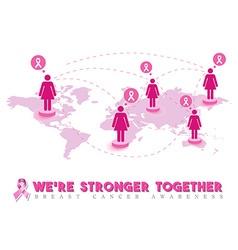 Pink breast cancer awareness world help design vector
