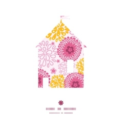 Pink field flowers house silhouette pattern frame vector