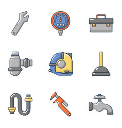 pipe workroom icons set cartoon style vector image