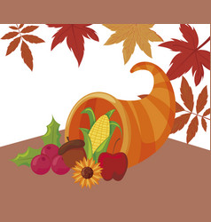 Plenty horn and leaves thanksgiving day vector