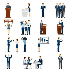 Politics flat icons set vector