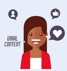 portrait woman cartoon viral content vector image
