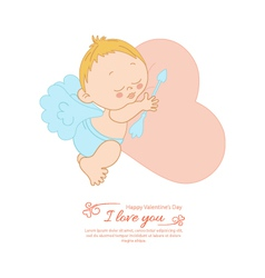 Postcard Valentines Day with Cupid vector image