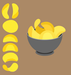 Potato chips in bowl vector