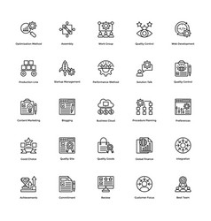 Project management line icons set 23 vector