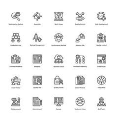 project management line icons set 23 vector image