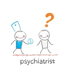 psychiatrist gives the patient a pill crazy vector image