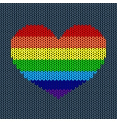 Rainbow knitted heart vector