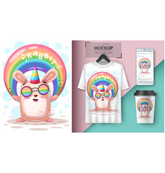 Rainbow rabbit unicorn - mockup for your idea vector