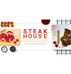 Raw fresh meat and grilled meat rib eye steak vector