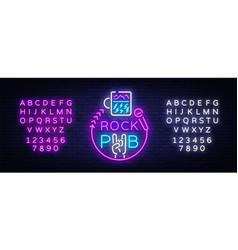 rock pub logo neon rock bar neon sign vector image