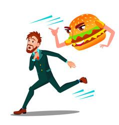 scared man runing away from hamburger vector image