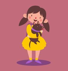 School Girl Holding her Dog vector image