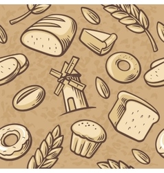 Seamless Pattern hand drawn vintage for bakery vector