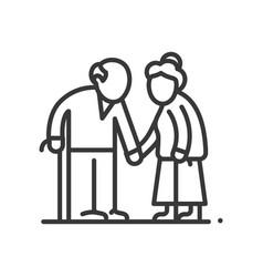 Senior couple - line design single isolated vector