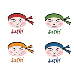 Set faces sushi chef vector