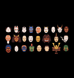Set isolated japanese theatrical noh masks vector