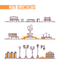 Set of city elements - modern line design style vector
