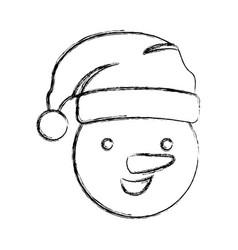 silhouette blurred face cartoon snowman christmas vector image