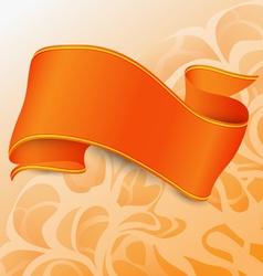 Single orange ribbon with straights vector