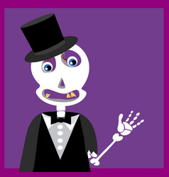 Skull with tuxedo suit vector