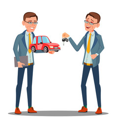 Smiling insurance agent holding a car in hand vector