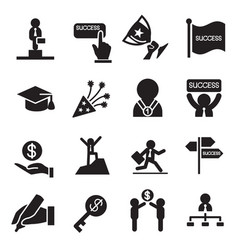 succuess icons set vector image
