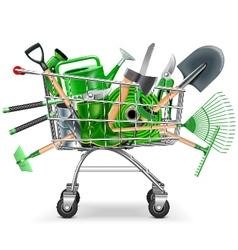 Supermarket Trolley with Garden Accessories vector image