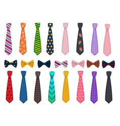 tie collection men suits accessories bows and vector image