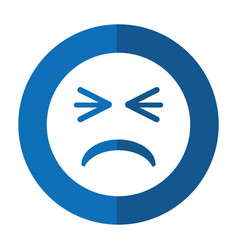 Unhappy face emoticon funny shadow vector