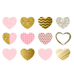 valentine day collection hearts vector image