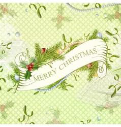 vintage christmas scrapbooking greeting background vector image