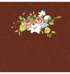 Vintage greeting card with flowers vector